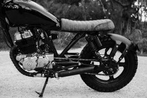 black and white photo of a motorcycle