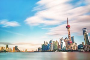 Ville de shanghai, vue de l'eau quartier d'affaire